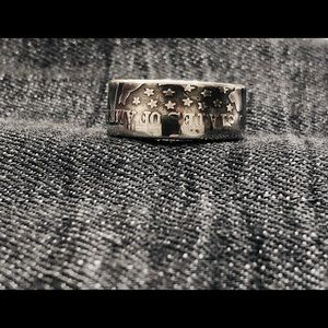 90% Silver Half dollar coin ring .